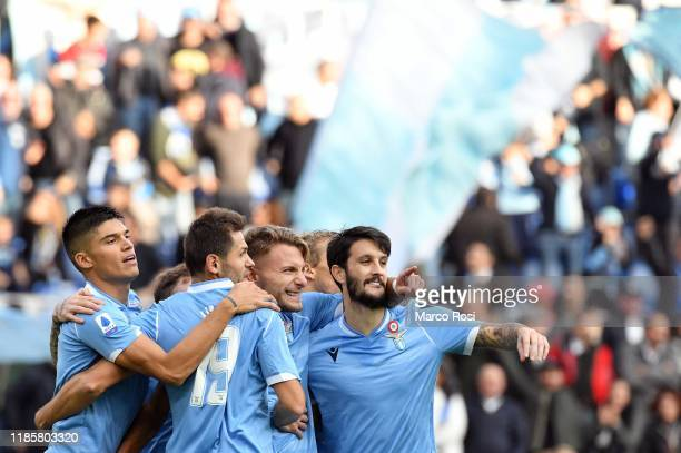 Ciro Immobile of SS Lazio celebrate a opening goal with his team mates during the Serie A match between SS Lazio and Udinese Calcio at Stadio...