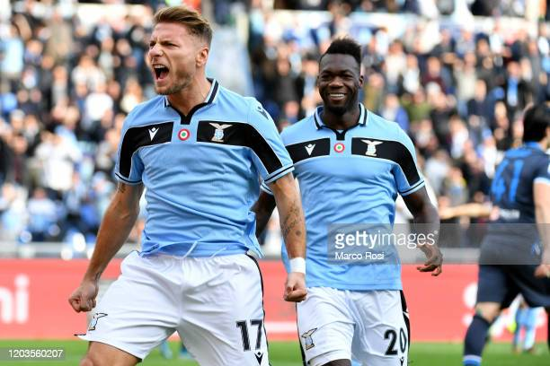 Ciro Immobile of SS Lazio celebrate a opening goal with his team mates during the Serie A match between SS Lazio and SPAL at Stadio Olimpico on...