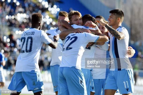 Ciro Immobile of SS Lazio celebrate a second goal with his team mates during the Serie A match between Brescia Calcio and SS Lazio at Stadio Mario...