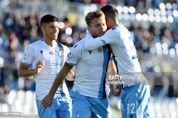 Ciro Immobile of SS Lazio celebrate a second goal with his team mates during the Serie A match between Brescia Calcio and SS Lazio at Stadio Mario...