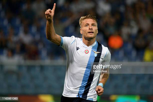 Ciro Immobile of SS Lazio celebrate a third goal with his team mates during the Serie A match between UC Sampdoria and SS Lazio at Stadio Luigi...
