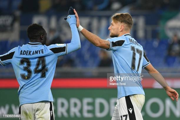 Ciro Immobile of SS Lazio celebrate a third goal with his team mates during the Coppa Italia match between SS Lazio and US Cremonese at Olimpico...