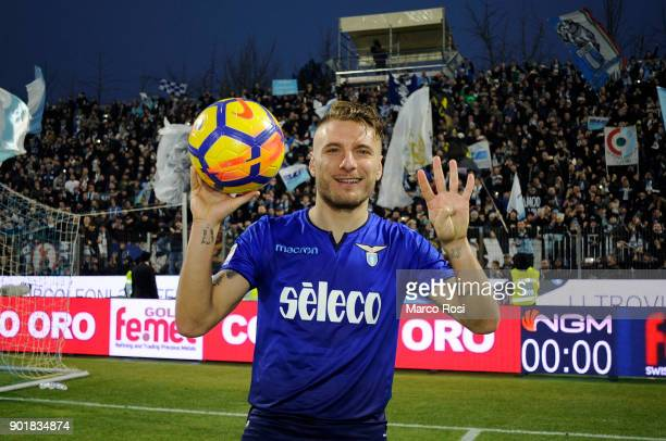 Ciro Immobile of SS Lazio celebrate for the four goals scored at the end of the game the serie A match between Spal and SS Lazio at Stadio Paolo...