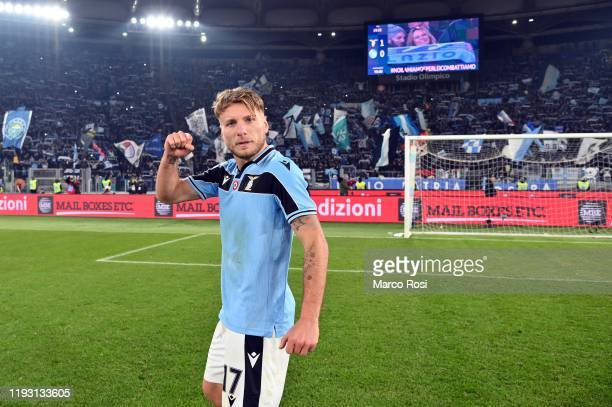 Ciro immobile of SS Lazio celebrates a after defeating SSC Napoli in the Serie A match between SS Lazio and SSC Napoli at Stadio Olimpico on January...