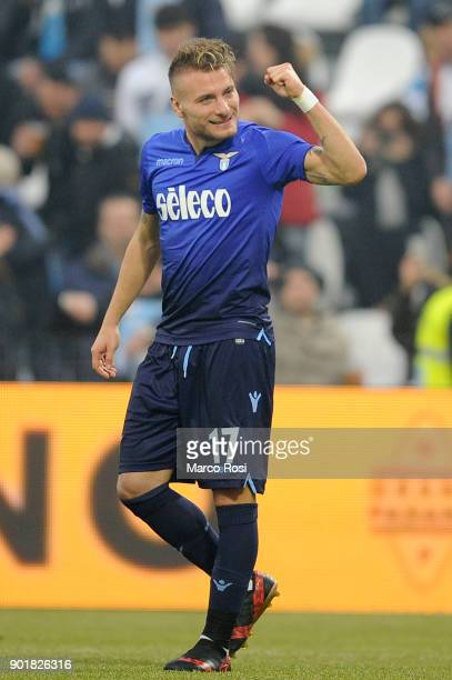 Ciro Immobile of SS Lazio celebrates a fifth goal during the serie A match between Spal and SS Lazio at Stadio Paolo Mazza on January 6 2018 in...