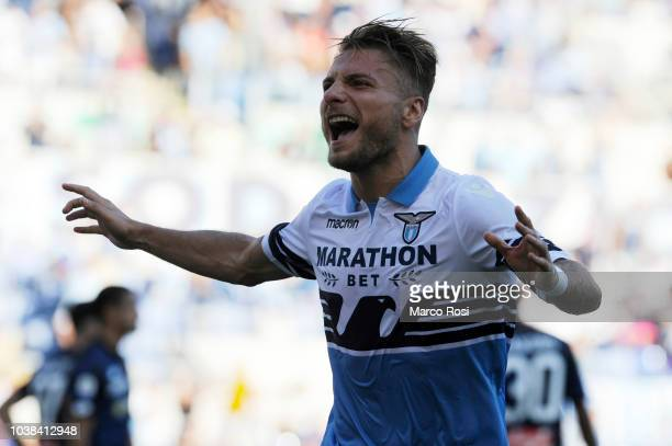 Ciro Immobile of SS Lazio celebrates a fourth goal during the Serie A match between SS Lazio and Genoa CFC at Stadio Olimpico on September 23 2018 in...