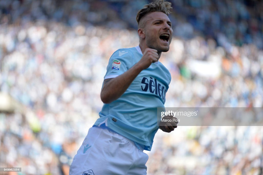 Ciro Immobile of SS lazio celebrates a fourth goal during the serie A match between SS Lazio and UC Sampdoria at Stadio Olimpico on April 22, 2018 in Rome, Italy.