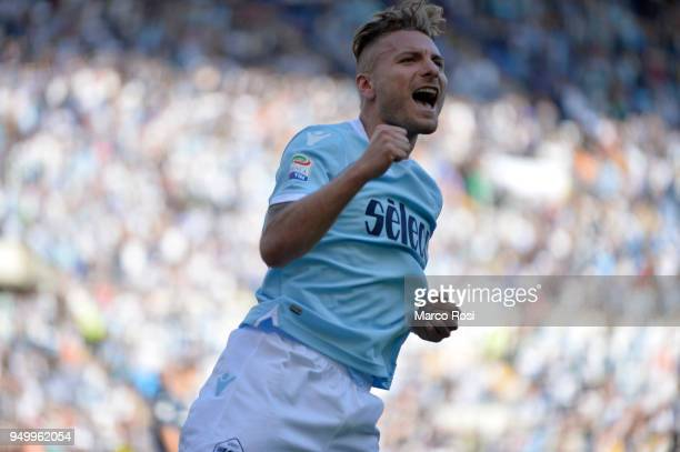 Ciro Immobile of SS lazio celebrates a fourth goal during the serie A match between SS Lazio and UC Sampdoria at Stadio Olimpico on April 22 2018 in...