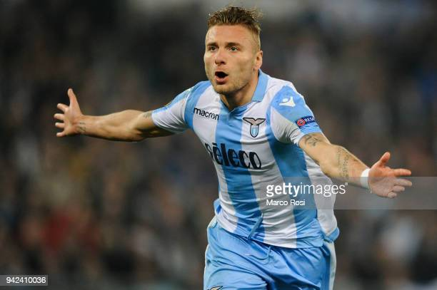 Ciro Immobile of SS Lazio celebrates a fourth goal during the UEFA Europa League quarter final leg one match between Lazio Roma and RB Salzburg at...