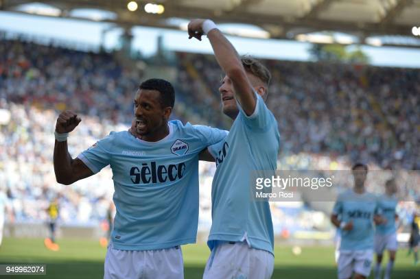 Ciro Immobile of SS lazio celebrates a fourth goal with Luis Naniduring the serie A match between SS Lazio and UC Sampdoria at Stadio Olimpico on...