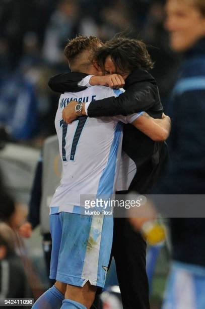 Ciro Immobile of SS Lazio celebrates a fourth gol with Simone Inzaghi during the UEFA Europa League quarter final leg one match between Lazio Roma...
