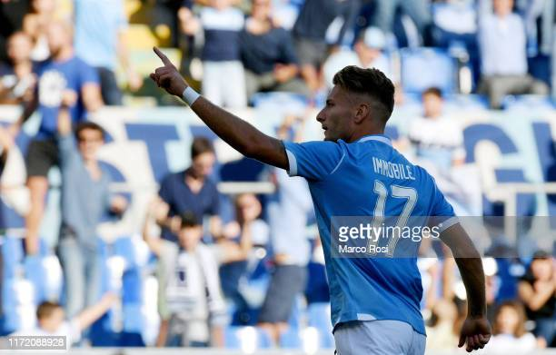 Ciro Immobile of SS Lazio celebrates a fouth goal during the Serie A match between SS Lazio and Genoa CFC at Stadio Olimpico on September 29 2019 in...