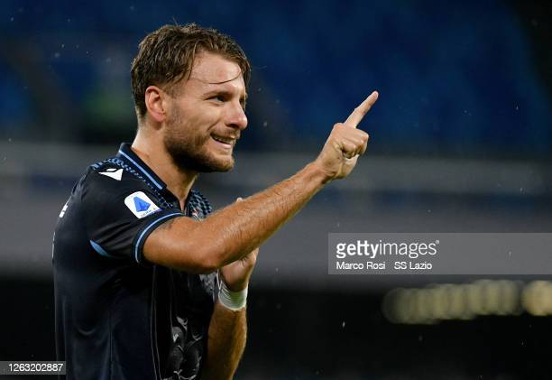Ciro Immobile of SS Lazio celebrates a frist goal during the Serie A match between SSC Napoli and SS Lazio at Stadio San Paolo on August 01, 2020 in...