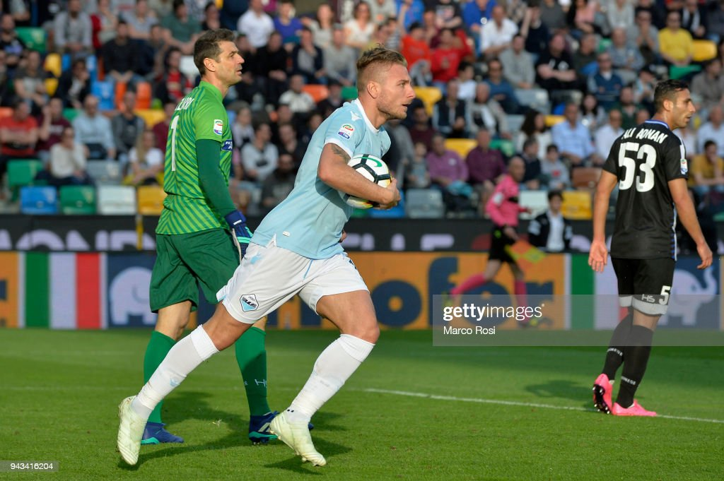 Ciro Immobile of SS Lazio celebrates a frist goal during the serie A match between Udinese Calcio and SS Lazio at Stadio Friuli on April 8, 2018 in Udine, Italy.