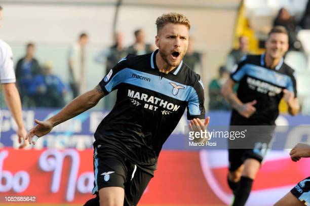 Ciro Immobile of SS Lazio celebrates a opening goal a penalty during the Serie A match between Parma Calcio and SS Lazio at Stadio Ennio Tardini on...