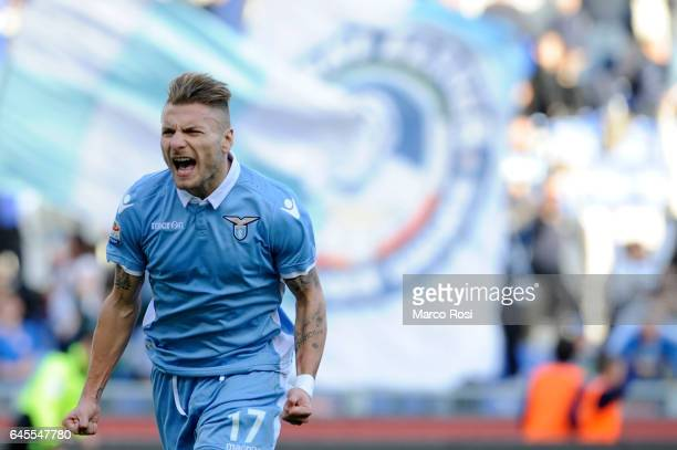 Ciro Immobile of SS Lazio celebrates a opening goal a penalty during the Serie A match between SS Lazio and Udinese Calcio at Stadio Olimpico on...