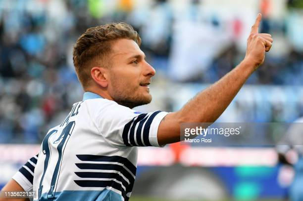 Ciro Immobile of SS Lazio celebrates a opening goal by penalty during the Serie A match between SS Lazio and US Sassuolo at Stadio Olimpico on April...