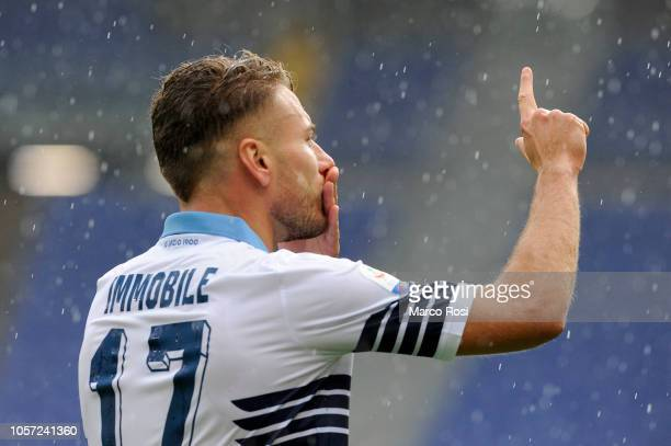Ciro Immobile of SS Lazio celebrates a opening goal during the Serie A match between SS Lazio and SPAL at Stadio Olimpico on November 4 2018 in Rome...