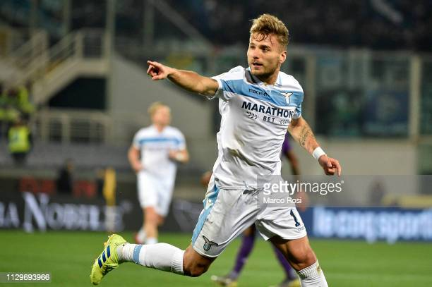 Ciro Immobile of SS Lazio celebrates a opening goal during the Serie A match between ACF Fiorentina and SS Lazio at Stadio Artemio Franchi on March...