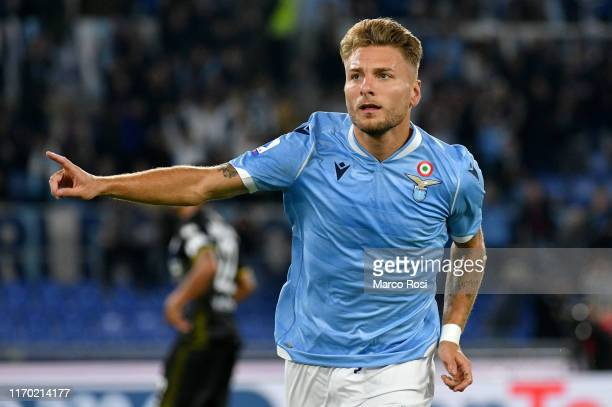 Ciro Immobile of SS Lazio celebrates a opening goal during the Serie A match between SS Lazio and Parma Calcio at Stadio Olimpico on September 22...