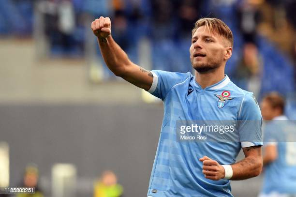 Ciro Immobile of SS Lazio celebrates a opening goal during the Serie A match between SS Lazio and Udinese Calcio at Stadio Olimpico on December 1...