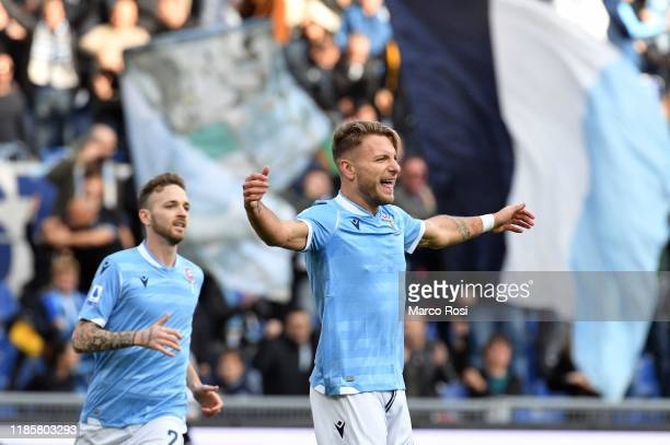 Ciro Immobile of SS Lazio celebrates a opening goal during the Serie A match between SS Lazio and Udinese Calcio at Stadio Olimpico on December 1,...