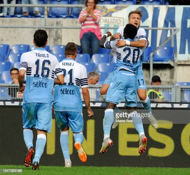 Ciro Immobile of SS Lazio celebrates a opening goal with his team mate during the Serie A match between SS Lazio and ACF Fiorentina at Stadio...