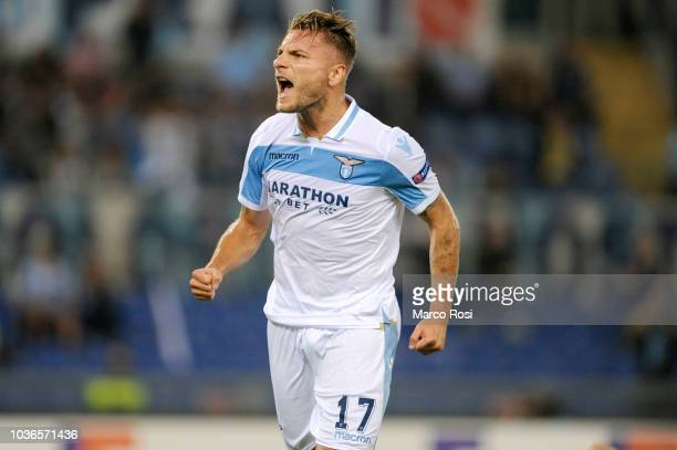 Ciro Immobile of SS Lazio celebrates a second goal a penalty during the UEFA Europa League Group H match between SS Lazio and Apollon Limassol at...