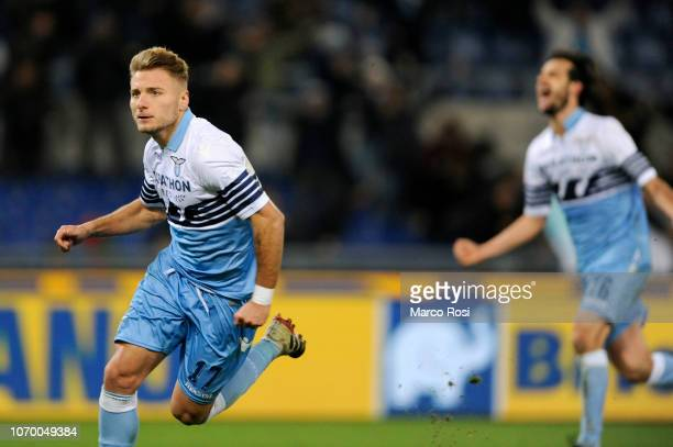 Ciro Immobile of SS lazio celebrates a second goal a penalty during the Serie A match between SS Lazio and UC Sampdoria at Stadio Olimpico on...