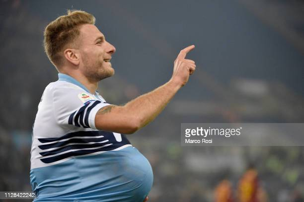 Ciro Immobile of SS Lazio celebrates a second goal a penalty during the Serie A match between SS Lazio and AS Roma at Stadio Olimpico on March 2,...