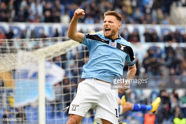 Ciro Immobile of SS Lazio celebrates a second goal a penalty during the Serie A match between SS Lazio and UC Sampdoria at Stadio Olimpico on January...