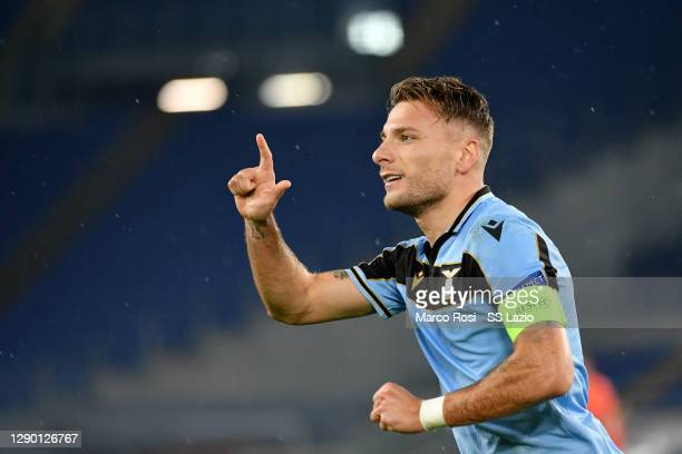 Ciro Immobile of SS Lazio celebrates a second goal a penalty during the UEFA Champions League Group F stage match between SS Lazio and Club Brugge KV...