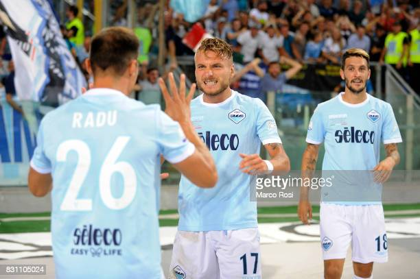 Ciro Immobile of SS Lazio celebrates a second goal during the Italian Supercup match between Juventus and SS Lazio at Stadio Olimpico on August 13...