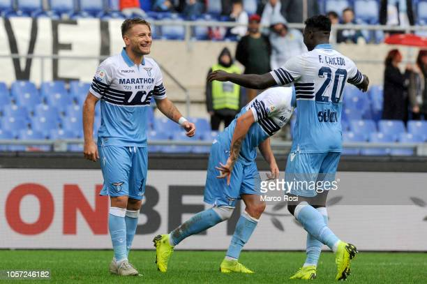 Ciro Immobile of SS Lazio celebrates a second goal during the Serie A match between SS Lazio and SPAL at Stadio Olimpico on November 4 2018 in Rome...