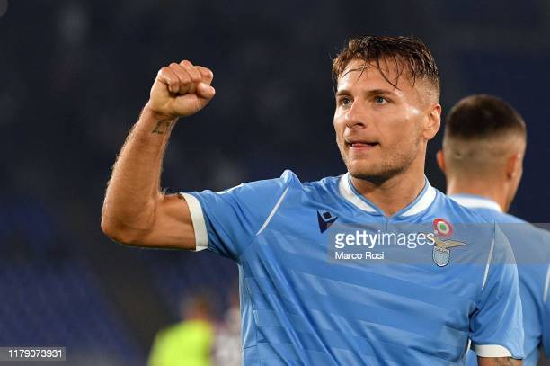 Ciro Immobile of SS Lazio celebrates a second goal during the Serie A match between SS Lazio and Torino FC at Stadio Olimpico on October 30 2019 in...
