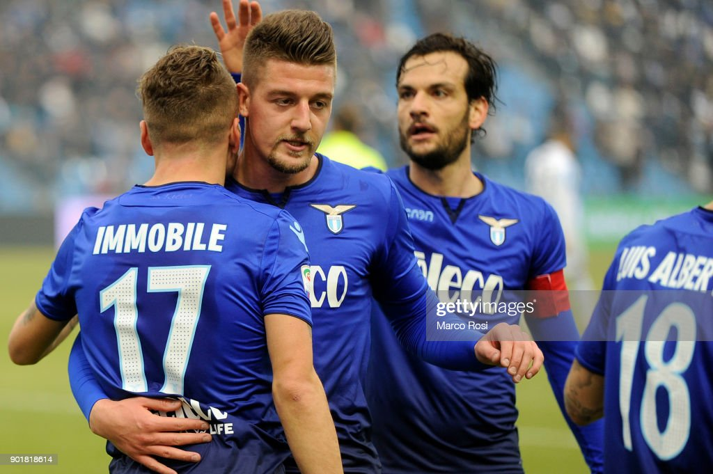 Ciro Immobile of SS Lazio celebrates a second goalduring the serie A match between Spal and SS Lazio at Stadio Paolo Mazza on January 6, 2018 in Ferrara, Italy.