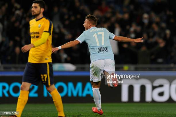 Ciro Immobile of SS Lazio celebrates a second goal during the serie A match between SS Lazio and Hellas Verona FC at Stadio Olimpico on February 19...