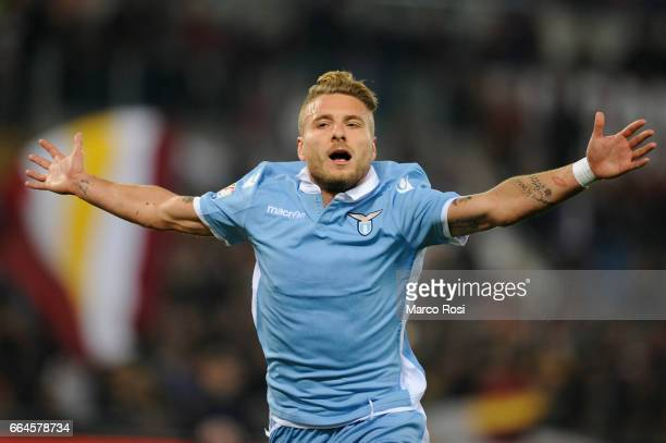 Ciro Immobile of SS lazio celebrates a second goal during the TIM Cup match between AS Roma and SS Lazio at Stadio Olimpico on April 4 2017 in Rome...