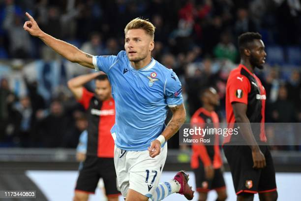 Ciro Immobile of SS Lazio celebrates a second goal during the UEFA Europa League group E match between SS Lazio and Stade Rennes at Stadio Olimpico...
