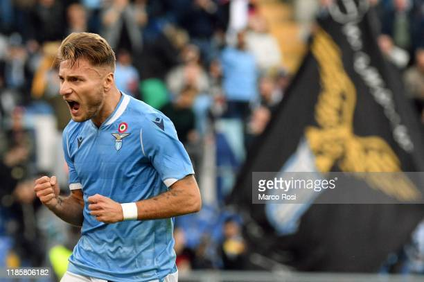 Ciro Immobile of SS Lazio celebrates a second goal from the penalty spot during the Serie A match between SS Lazio and Udinese Calcio at Stadio...