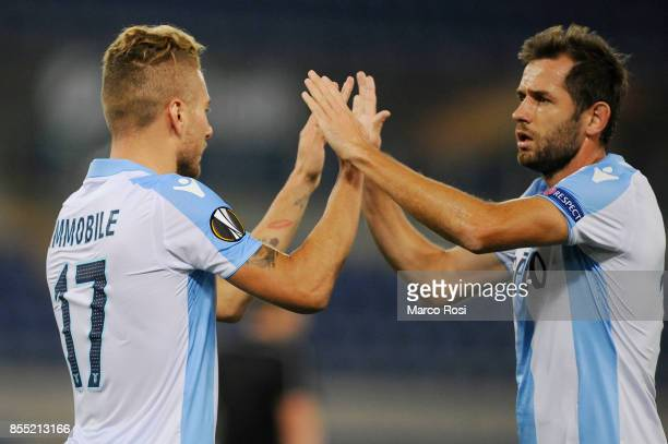 Ciro Immobile of SS Lazio celebrates a second goal with his team mates during the UEFA Europa League group K match between SS Lazio and SV Zulte...