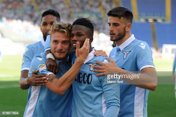 Ciro Immobile of SS Lazio celebrates a seventh with his team mates during the Serie A match between SS Lazio and UC Sampdoria at Stadio Olimpico on...