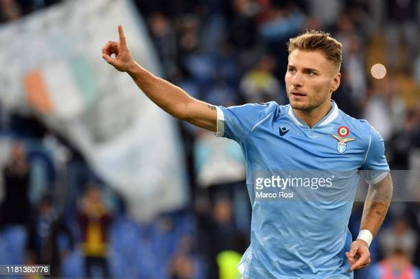 Ciro Immobile of SS Lazio celebrates a third goal during the Serie A match between SS Lazio and US Lecce at Stadio Olimpico on November 10 2019 in...