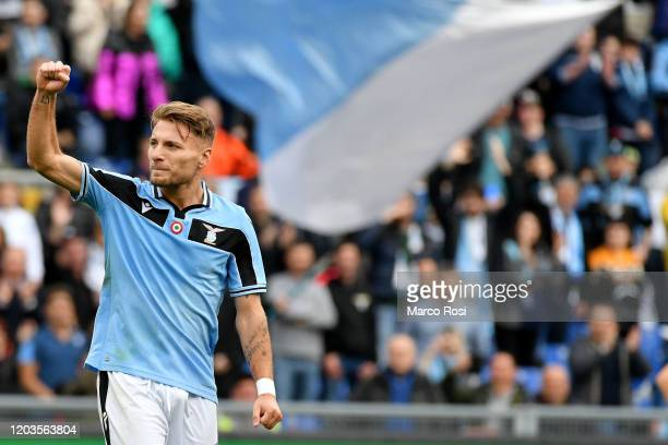 Ciro Immobile of SS Lazio celebrates a third goal during the Serie A match between SS Lazio and SPAL at Stadio Olimpico on February 02, 2020 in Rome,...