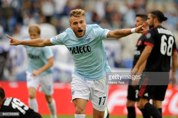 Ciro Immobile of SS Lazio celebrates a third goal during the Serie A match between SS Lazio and AC Milan at Stadio Olimpico on September 10 2017 in...