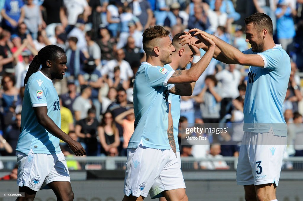 Ciro Immobile of SS lazio celebrates a third goal with his team mates during the serie A match between SS Lazio and UC Sampdoria at Stadio Olimpico on April 22, 2018 in Rome, Italy.