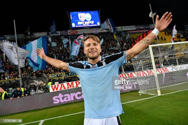 Ciro Immobile of SS Lazio celebrates a winner game after the Serie A match between Parma Calcio and SS Lazio at Stadio Ennio Tardini on February 09,...