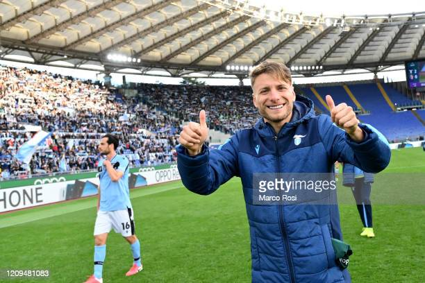 Ciro Immobile of SS Lazio celebrates a winnig game after the Serie A match between SS Lazio and Bologna FC at Stadio Olimpico on February 29 2020 in...