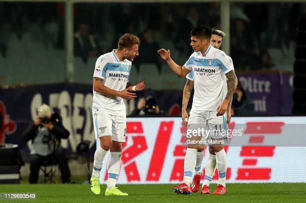 Ciro Immobile of SS Lazio celebrates after scoring a goal during the Serie A match between ACF Fiorentina and SS Lazio at Stadio Artemio Franchi on...