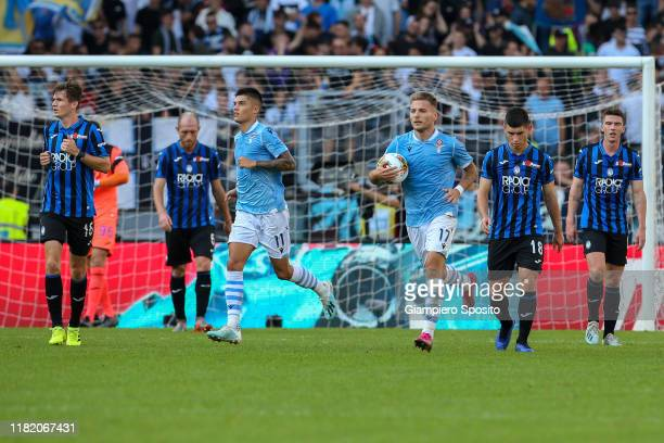 Ciro Immobile of SS Lazio celebrates after scoring a goal from the penalty spot during the Serie A match between SS Lazio and Atalanta BC at Stadio...